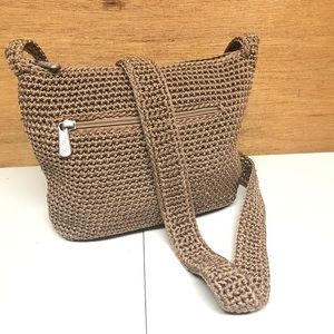 The Sac Small Camel Crocheted Cross Body Bag Purse